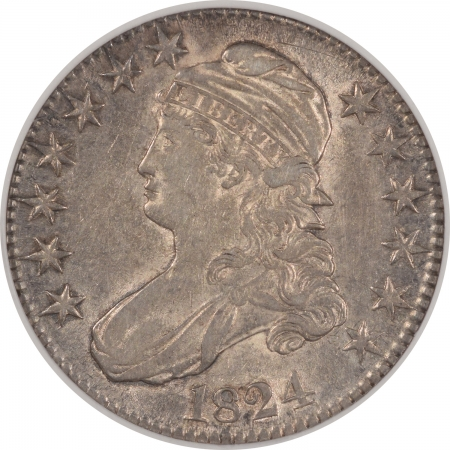 Coin World/Numismatic News Featured Coins 1824 CAPPED BUST HALF DOLLAR NGC XF-40, PQ W/ UNDERLYING LUSTER