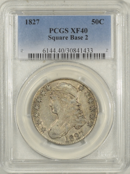 New Certified Coins 1827 CAPPED BUST HALF DOLLAR – SQUARE BASE 2, PCGS XF-40, W/ LUSTER