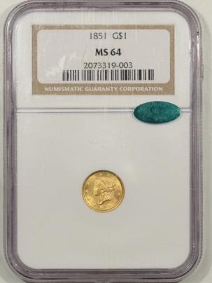 $1 1851 $1 GOLD TYPE 1 NGC MS-64 CAC, FRESH & PQ!