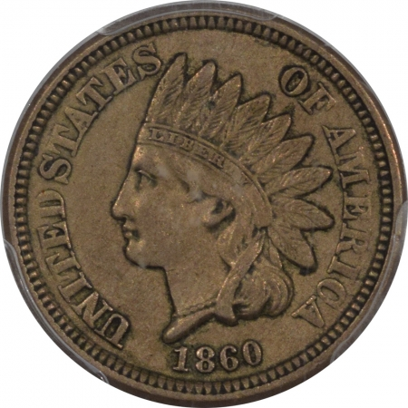 New Certified Coins 1860 INDIAN CENT PCGS AU-50