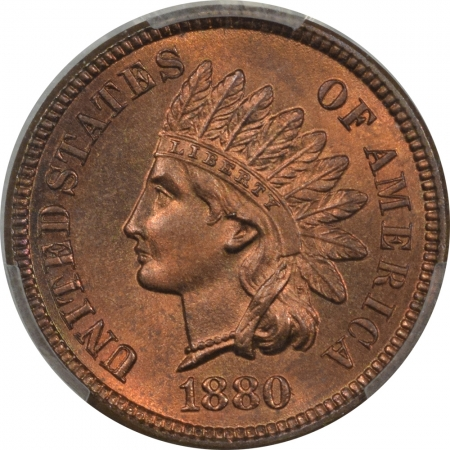 New Certified Coins 1880 INDIAN CENT – PCGS MS-66 RB, CAC, SUPERB! POP 9, NONE NUMERICALLY FINER!