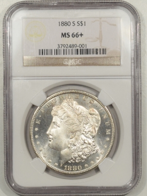 New Certified Coins 1880-S MORGAN DOLLAR NGC MS-66+, FRESH & PQ!