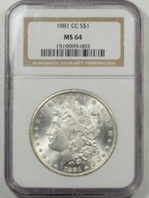 New Certified Coins 1881-CC MORGAN DOLLAR NGC MS-64, BLAST WHITE & FLASHY!
