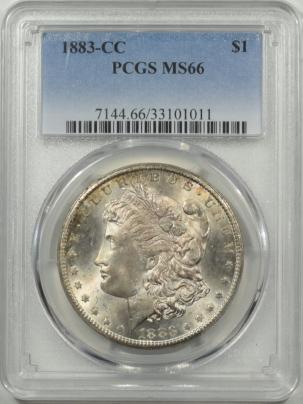 New Certified Coins 1883-CC MORGAN DOLLAR PCGS MS-66, FRESH & PRETTY, CLEAN CHEEK!