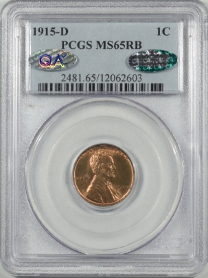 CAC Approved Coins 1915-D LINCOLN CENT PCGS MS-65 RB CAC APPROVED!