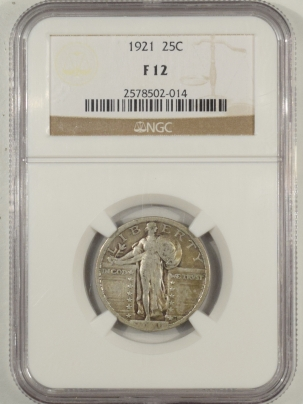 Coin World/Numismatic News Featured Coins 1921 STANDING LIBERTY QUARTER NGC F-12, PERFECT CIRCULATED