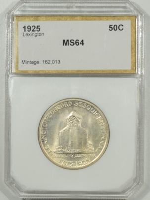 New Certified Coins 1925 LEXINGTON COMMEMORATIVE HALF DOLLAR PCI MS-64