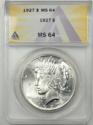 Dollars 1927 PEACE DOLLAR ANACS MS-64, BLAST WHITE