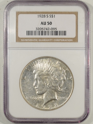 Dollars 1928-S PEACE DOLLAR NGC AU-50, WHITE & PQ FOR THE GRADE