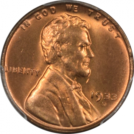 Coin World/Numismatic News Featured Coins 1933-D LINCOLN CENT PCGS MS-66+ RD, PREMIUM QUALITY!