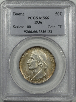 New Certified Coins 1936 BOONE COMMEMORATIVE HALF DOLLAR PCGS MS-66, FRESH & PQ!