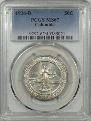 New Certified Coins 1936-D COLUMBIA COMMEMORATIVE HALF DOLLAR PCGS MS-67, SUPERB GEM!