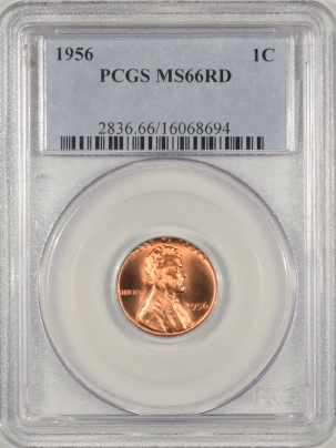 Coin World/Numismatic News Featured Coins 1956 LINCOLN CENT PCGS MS-66 RD, FULLY RED BLAZER