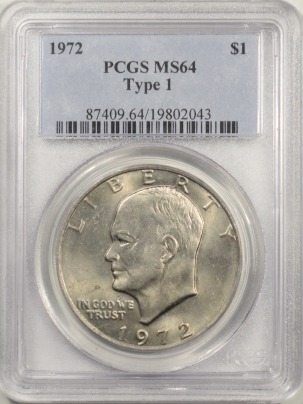 New Certified Coins 1972 EISENHOWER DOLLAR – TY I – PCGS MS-64