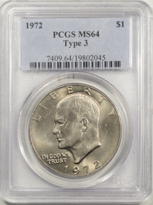 New Certified Coins 1972 EISENHOWER DOLLAR TY III – PCGS MS-64
