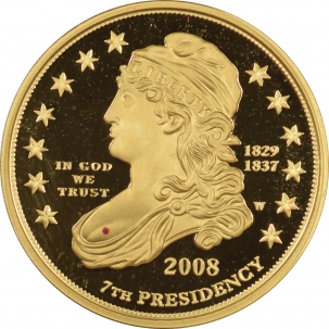 Coin World/Numismatic News Featured Coins 2008-W PROOF $10 .9999 1/2 OZ GOLD FIRST SPOUSE JACKSON'S LIBERTY GEM, BOX & COA