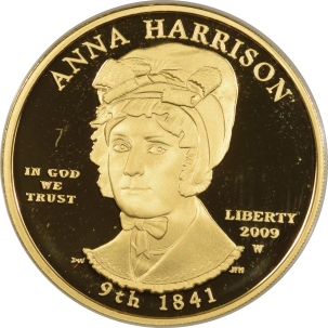 Coin World/Numismatic News Featured Coins 2009-W PROOF $10 .9999 1/2 OZ GOLD FIRST SPOUSE ANNA HARRISON GEM, W/ BOX & COA