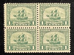 U.S. Stamps SCOTT #548 1c GREEN, PILGRIM, MOG, NH, BLOCK OF 4, FINE, PO FRESH, CAT $37