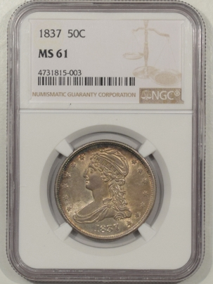 Early Halves 1837 CAPPED BUST HALF DOLLAR – NGC MS-61, ORIGINAL LUSTER, NICE LOOK!