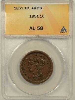 Braided Hair Large Cents 1851 BRAIDED HAIR LARGE CENT – ANACS AU-58