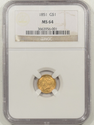 $1 1851 $1 GOLD DOLLAR – NGC MS-64 FRESH AND NICE!