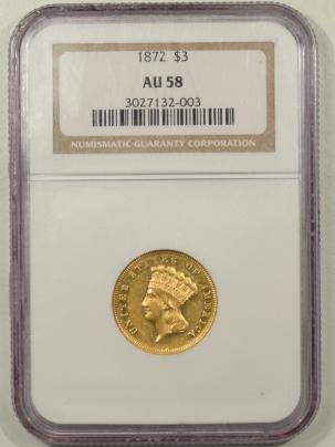 $3 1872 $3 GOLD PRINCESS NGC AU-58, WELL STRUCK, LOOKS PROOFLIKE, 2000 MINTAGE