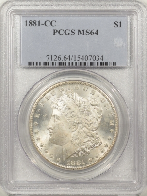 New Certified Coins 1881-CC MORGAN DOLLAR – PCGS MS-64