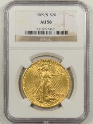 $20 1909/8 $20 ST GAUDEN'S GOLD NGC AU-58