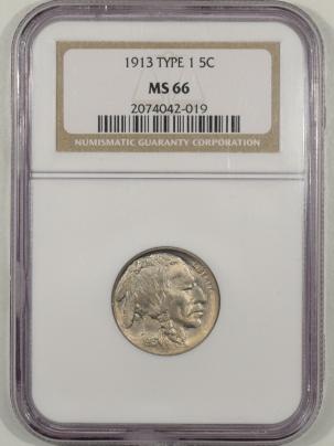 Buffalo Nickels 1913 TY I BUFFALO NICKEL – NGC MS-66