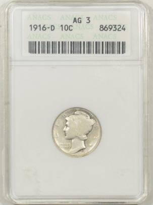 Coin World/Numismatic News Featured Coins 1916-D MERCURY DIME – ANACS AG-3 FRESH & PROBLEM-FREE, OLD WHITE HOLDER!