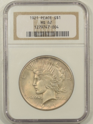 New Certified Coins 1921 PEACE DOLLAR – NGC MS-62 SMOOTH AND SATINY!