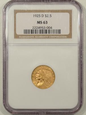 $2.50 1925-D $2.50 INDIAN GOLD QUARTER EAGLE NGC MS-63, CHOICE