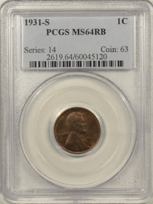 Lincoln Cents (Wheat) 1931-S LINCOLN CENT – PCGS MS-64 RB