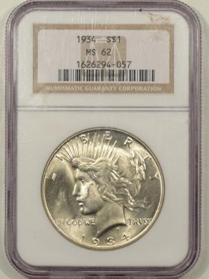 Dollars 1934 PEACE DOLLAR NGC MS-62, FLASHY & PQ!