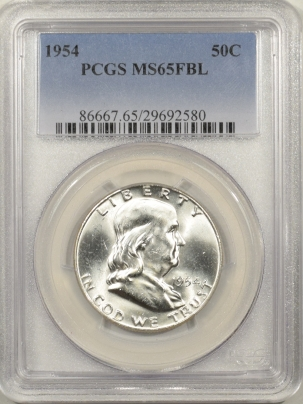 New Certified Coins 1954 FRANKLIN HALF DOLLAR – PCGS MS-65 FBL BLAST WHITE!