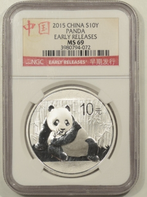 New Certified Coins 2015 CHINA 10 YUAN 1 OZ .999 SILVER PANDA, NGC MS-69 EARLY RELEASES