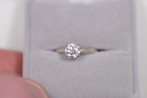 Jewelry 1.01 ROUND DIAMOND SOLITAIRE, 14KT WHITE, SIZE 5.5, GIA H-VS2, VG SYM, RAP $7500