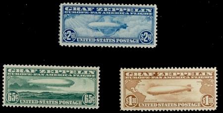 U.S. Stamps SCOTT #C-13 TO C-15 GRAF ZEPPELIN SET, VF, MOG/H, NICE COLOR & FRESH; APS MEMBER