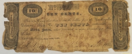 U.S. Currency 1837 YARDLEYVILLE, PA 10C NOTE YARDLEYVILLE DELAWARE BRIDGE CO PMG VG-8 NET RARE
