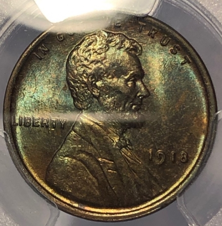 Lincoln Cents (Wheat) 1918 LINCOLN CENT – PCGS MS-63 BN GORGEOUS W/ GREENS