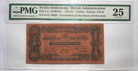 On Sale 1914-24 STRAITS SETTLEMENTS BRITISH ADMINISTRATION $1 PICK #1c KNB3d-h PMG VF-25