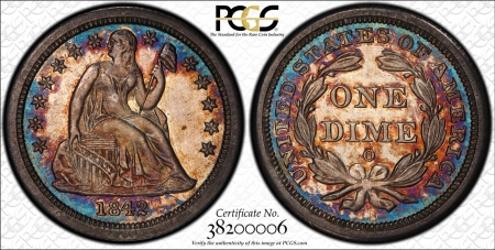 CAC Approved Coins GORGEOUS 1842-O LIBERTY SEATED DIME, PCGS MS-64+ CAC GEM QUALITY & PROOFLIKE-PQ!