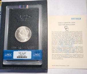 Morgan Dollars 1880-CC MORGAN DOLLAR GSA W/ BOX & CARD  – NGC MS-63 BLAST WHITE