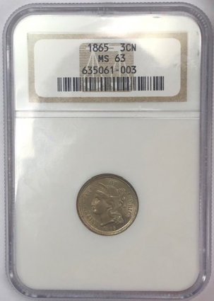 New Certified Coins 1865 THREE CENT NICKEL – NGC MS-63, PREMIUM QUALITY!