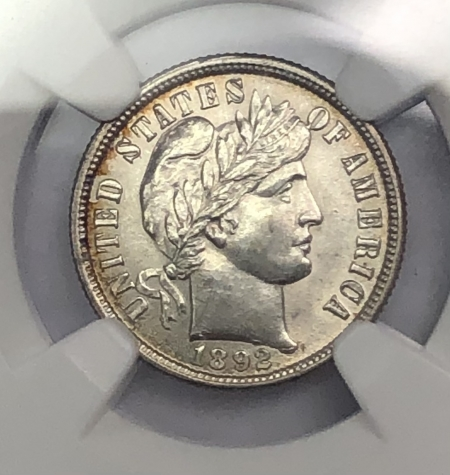 New Certified Coins 1892 BARBER DIME – NGC AU-58, FLASHY!