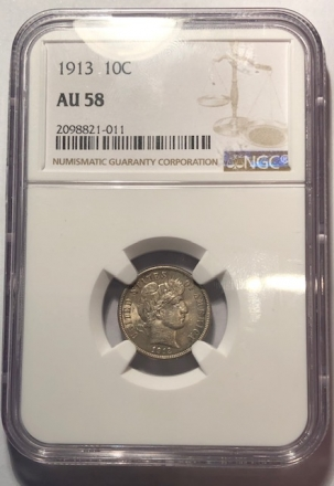 New Certified Coins 1913 BARBER DIME – NGC AU-58