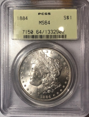 New Certified Coins 1884 MORGAN DOLLAR PCGS MS-64, OGH, BLAST WHITE & PQ!