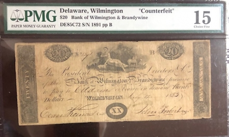 Obsolete Notes RARE 1823 WILMINGTON, DELAWARE $20 COUNTERFEIT NOTE W/ 1912 BANK LETTER PMG F-15