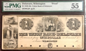 Obsolete Notes RARE WILMINGTON, DELAWARE $1 OBSOLETE, #DE80G2P, PROOF DISCOVERY NOTE, PMG AU-55